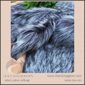 Thảm lông dài màu xám pha trắng - Lông dài cao cấp chuyên trong chụp ảnh, trang trí