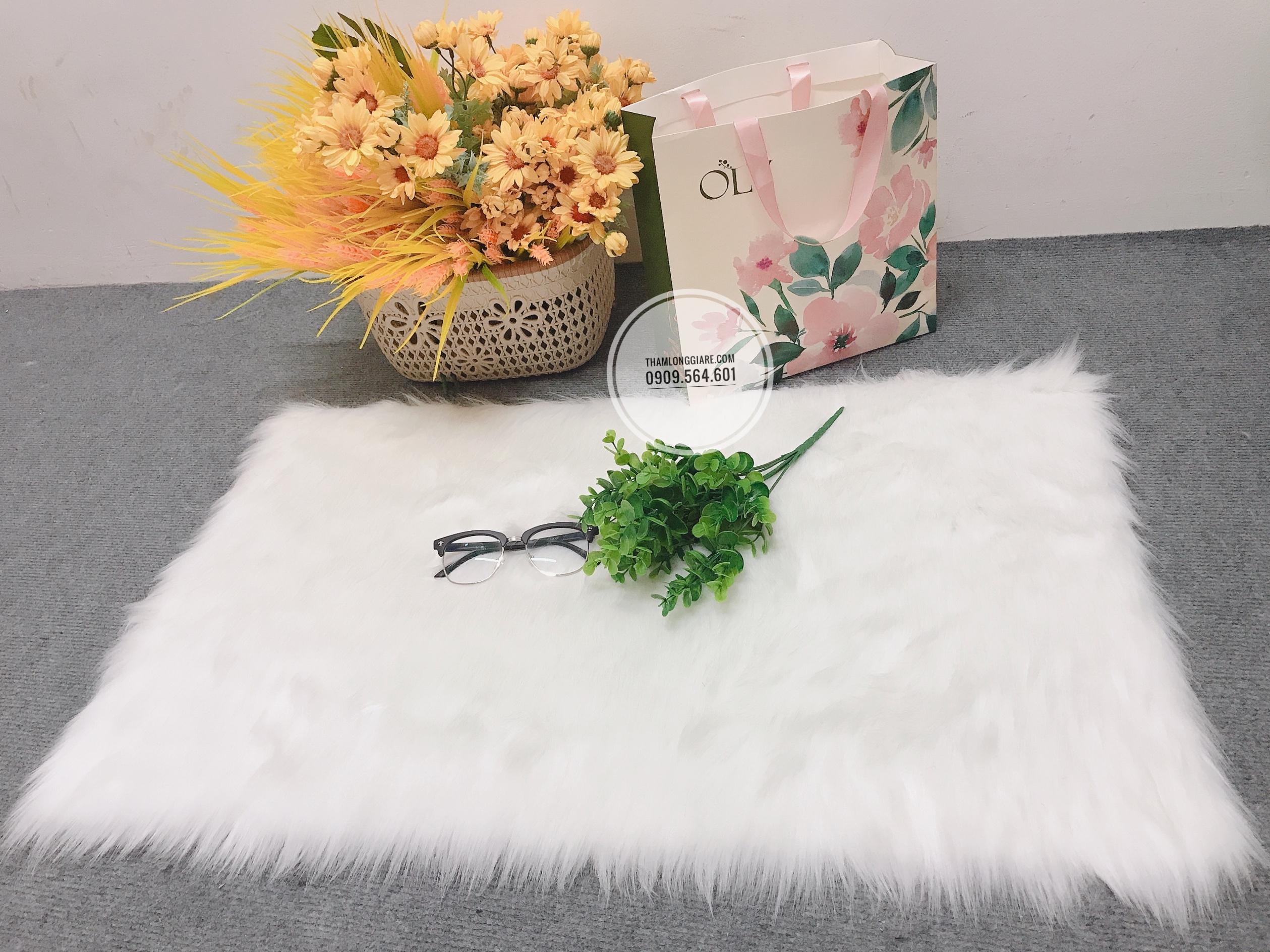 Thảm Lông Màu Trắng 50x80cm Lông Hồ ly trắng dài - size vừa chuyên dùng chụp ảnh, trải bàn