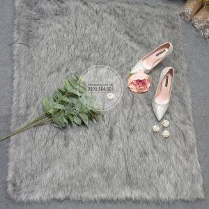 Thảm lông ngắn màu xám nhạt 1m x 1.6m - Lông ngắn siêu mịn