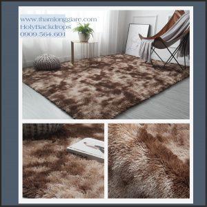 Thảm lông trải sàn màu nâu loang nền dày sang trọng 2*1.6m