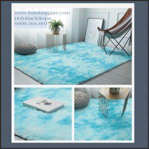 Thảm lông trải sàn màu xanh loang nền dày sang trọng 2*1.6m