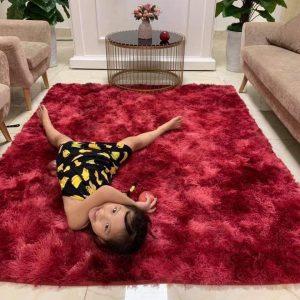 Thảm Lông Trải Sàn Màu Đỏ Loang Nền Dày Sang Trọng 2*1.6m