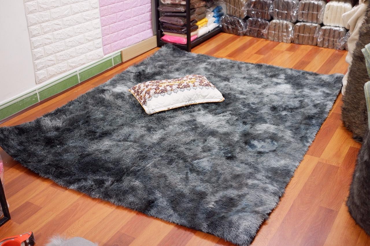 Thảm lông trải sàn màu đen loang nền dày sang trọng 2*1.6m
